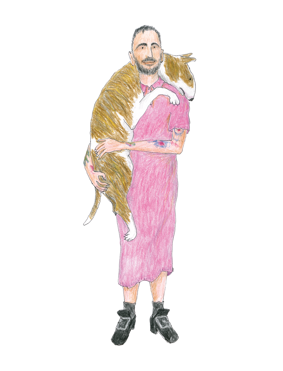 """This drawing is of me in my favorite bubble-gum-pink Comme des Garçons polo-shirt dress and my Pilgrim-inspired shoes, with Neville draped over my shoulders."" Marc Jacobs by Grace Coddington, from Marc Jacobs Illustrated"