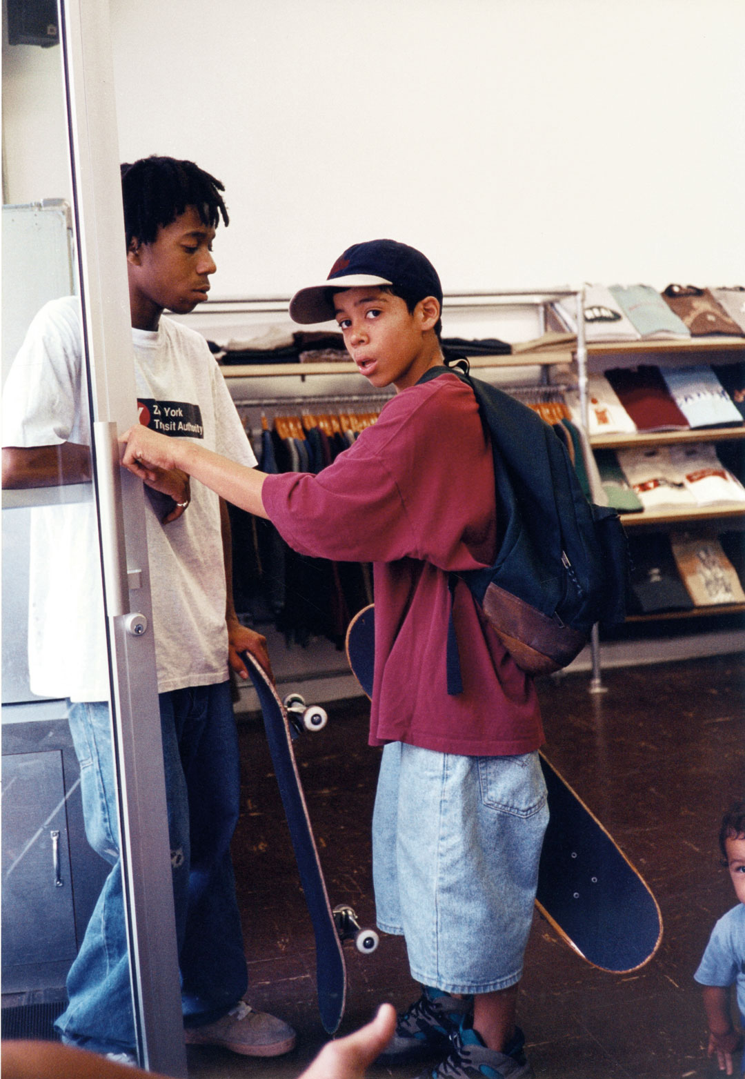 Javier Núñez at Supreme store by Larry Clark, Lafayette Street, NYC, 1994