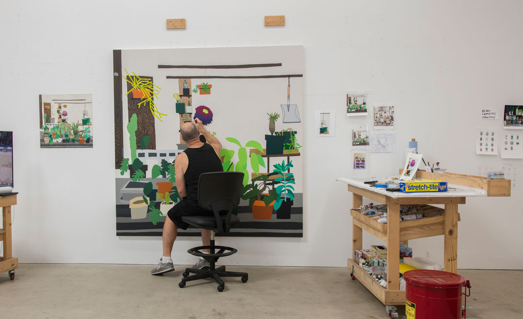 Jonas Wood at work in his studio