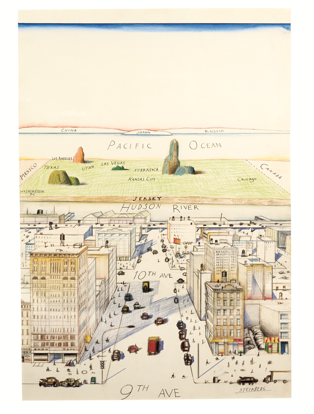 View of the World from 9th Avenue, 1976, Saul Steinberg Ink, pencil, coloured pencil and watercolour on paper, 71 x 48 cm / 28 x 19 in., private collection. From Map
