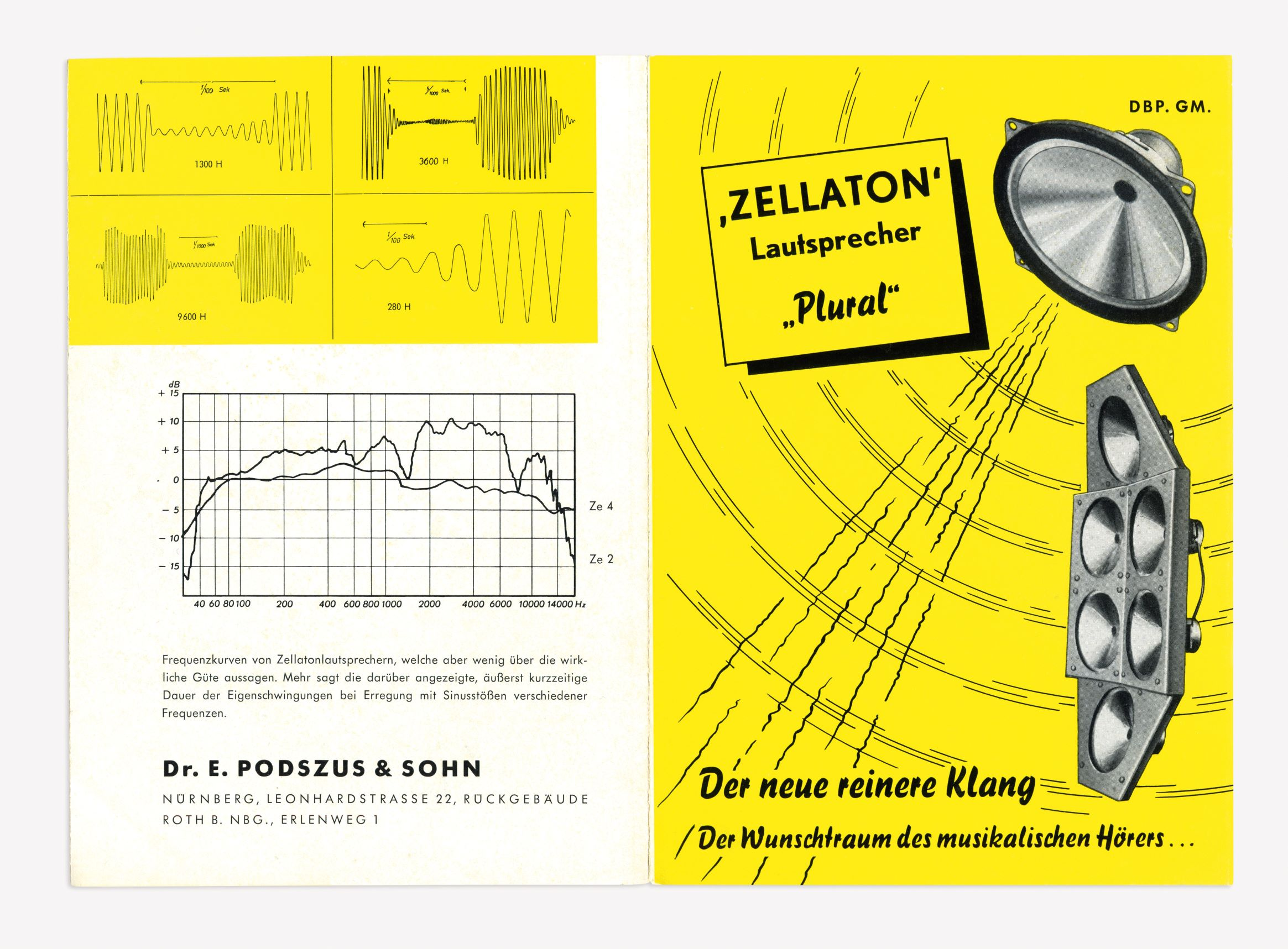 Promotional brochure for the Plural Loudspeakers, Zellaton, late 1950s