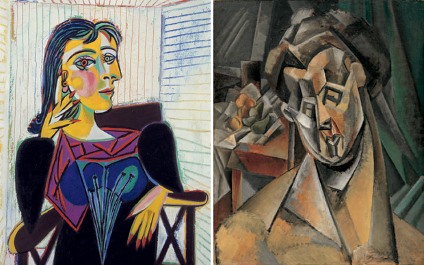 Pablo Picasso, 'Portrait of Dora Maar' (1937) (left) and 'Woman with Pears (Fernande)' (1909) (right)