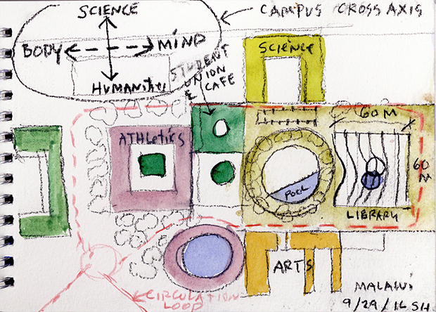 Steven Holl's drawings for the new Malawian library. Image courtesy of Stevenholl.com
