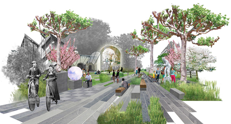 Renderings for The Promenade of Curiosities by Erect Architecture and J & L Gibbons