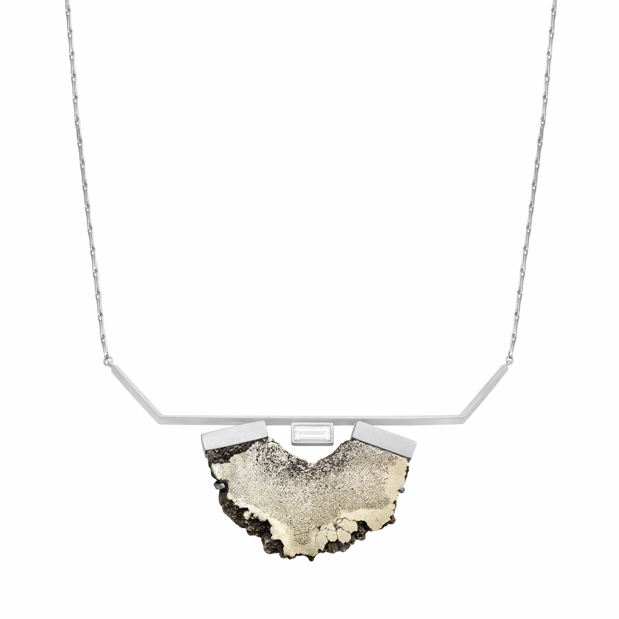 Monique Péan, Necklace, 2019. Diamond and pyritized dinosaur bone in recycled platinum. Image courtesy Monique Péan