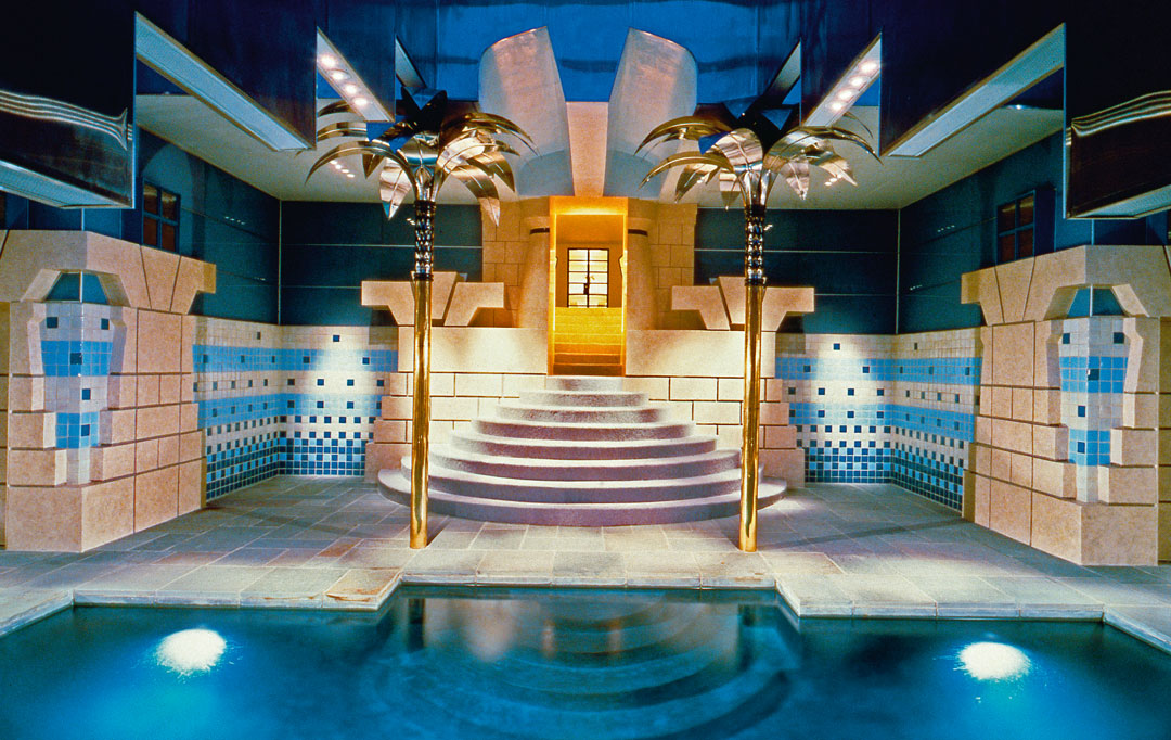 The Postmodern pool house where Egyptian and old English architecture get on swimmingly