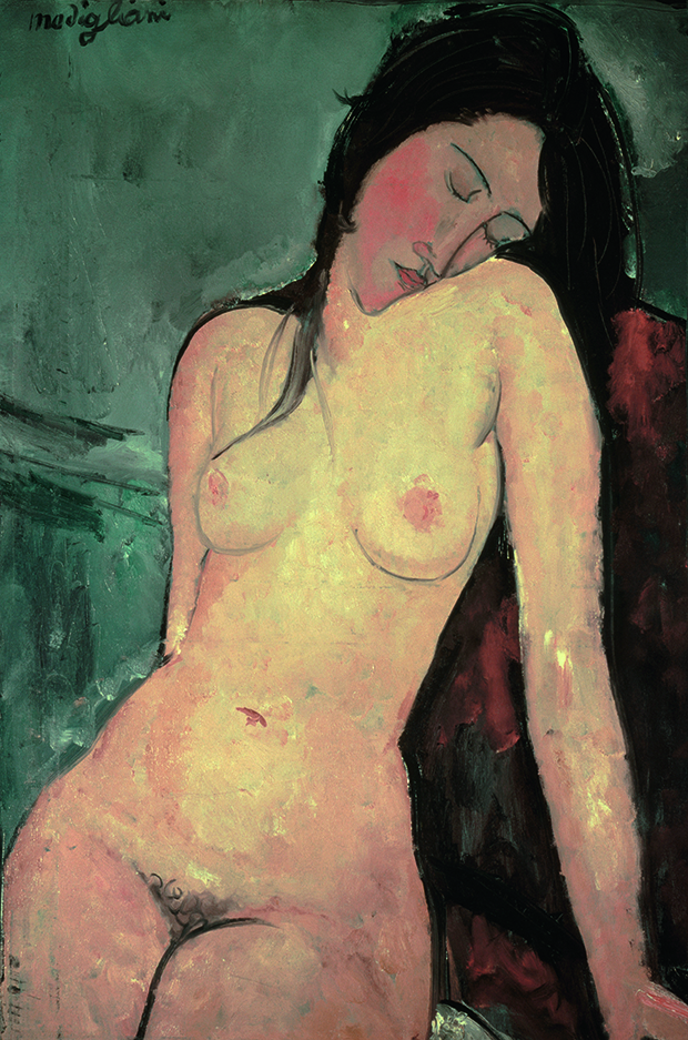 Amedeo Modigliani, Nude, c.1916, oil on canvas, 92.4 x 59.8 cm (36 1/2 x 23 1/2 in), Courtauld Gallery, London. akg-images/André Held. From Body of Art