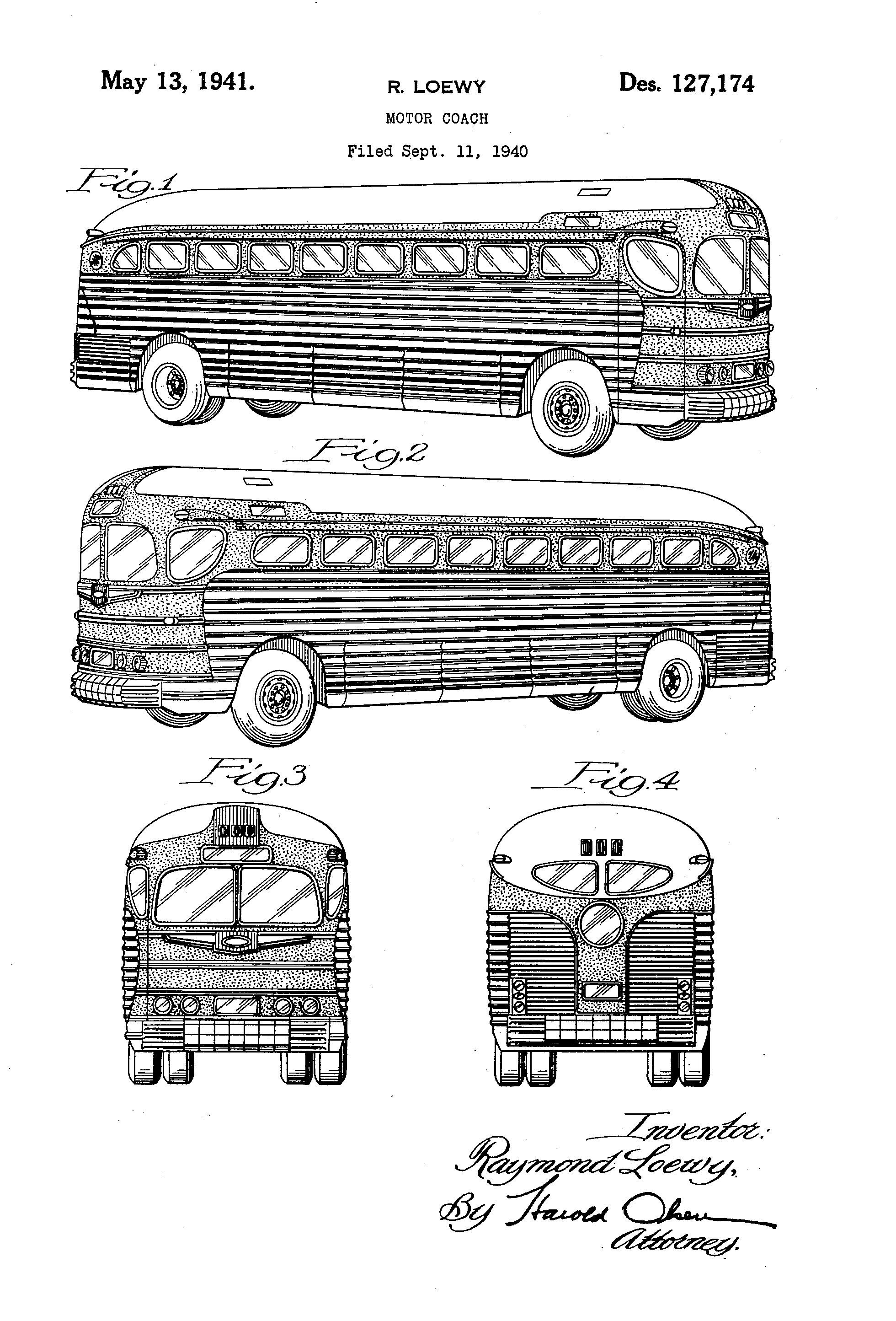 Motor Coach, Raymond Lowey, for Greyhound Corporation, 1940/1941. Patent Number: USD 127,174, U.S. Patent Office