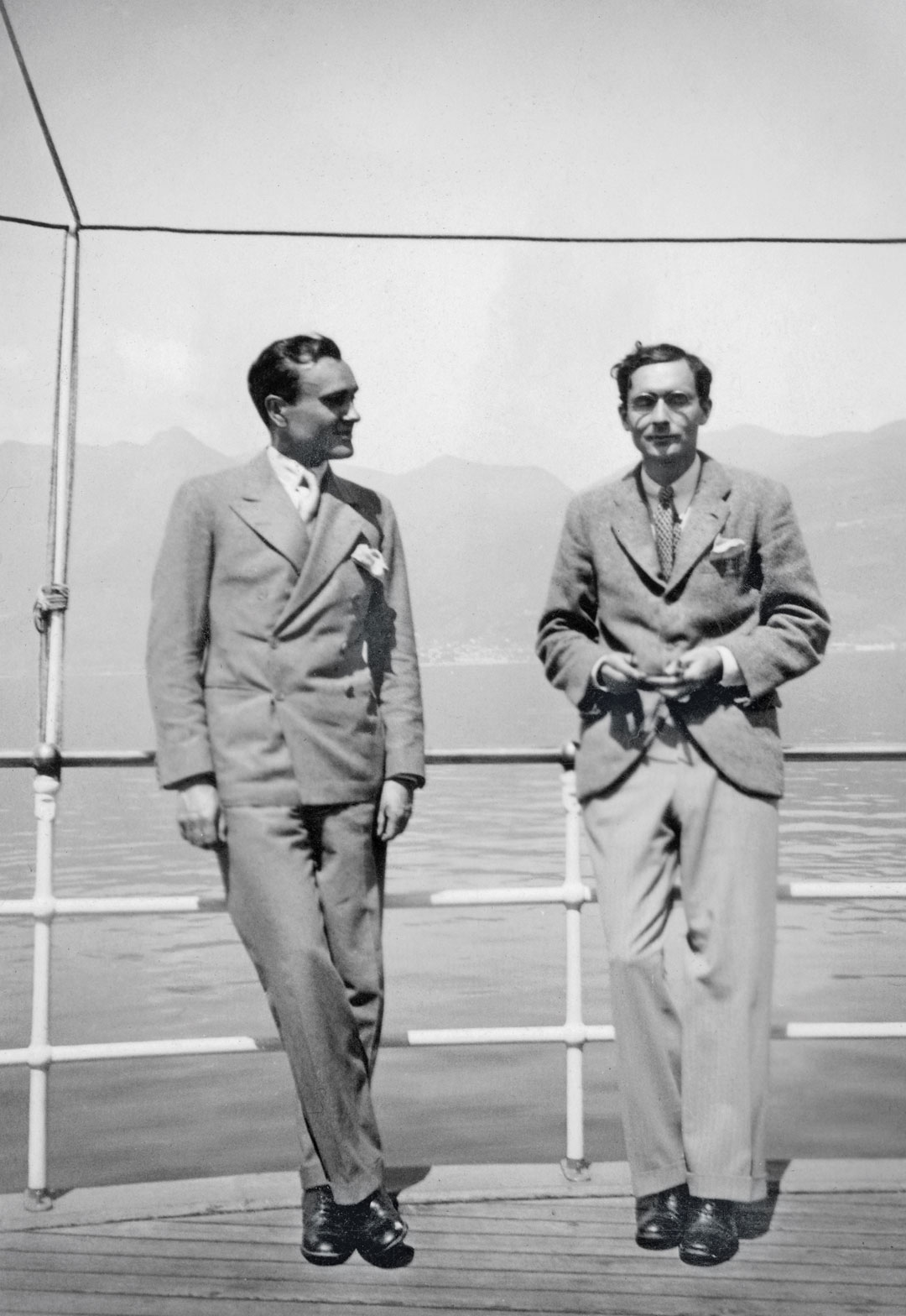 Philip (left) and Alfred H. Barr, Jr. (right), Lake Maggiore, Italy, April 1933. From Philip Johnson: A Visual Biography