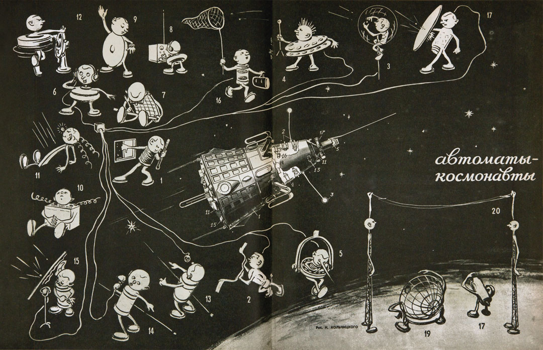Technology for the Youth, issue 8, 1958, 'Machines – Astronauts', illustration by N. Kolchitsky showing the individual components of Sputnik 3 as different characters