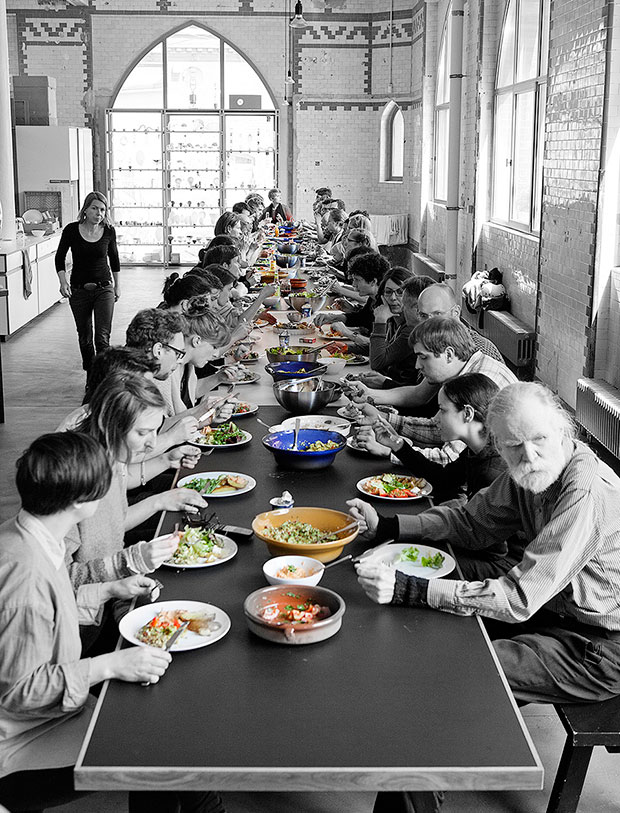 Lunch at Studio Olafur Eliasson. Photo: María del Pilar García Ayensa. © Studio Olafur Eliasson. From Studio Olafur Eliasson: The Kitchen