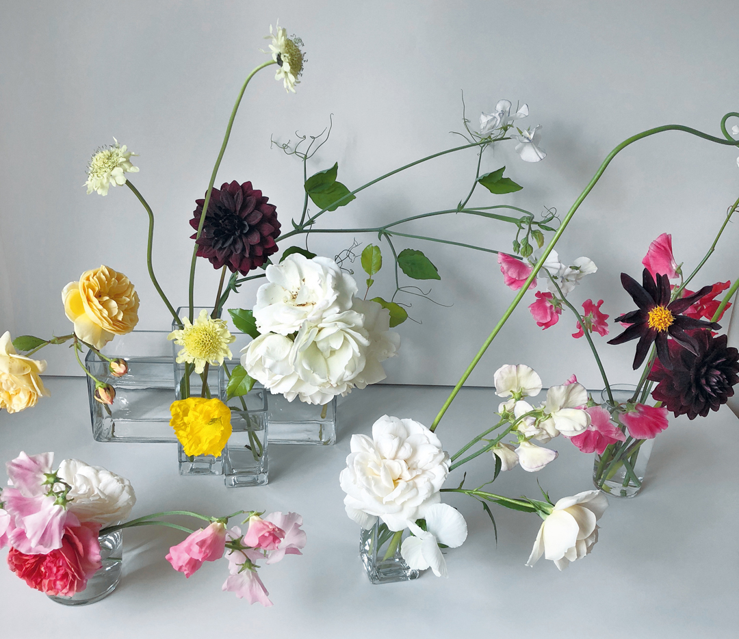 'Summer Tangle' – garden roses, sweet pea vines, scabious flower, dahlias and Icelandic poppies grown in Kent - Bold Oxlip