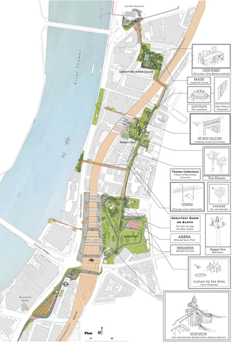The planned route for The Promenade of Curiosities by Erect Architecture and J & L Gibbons