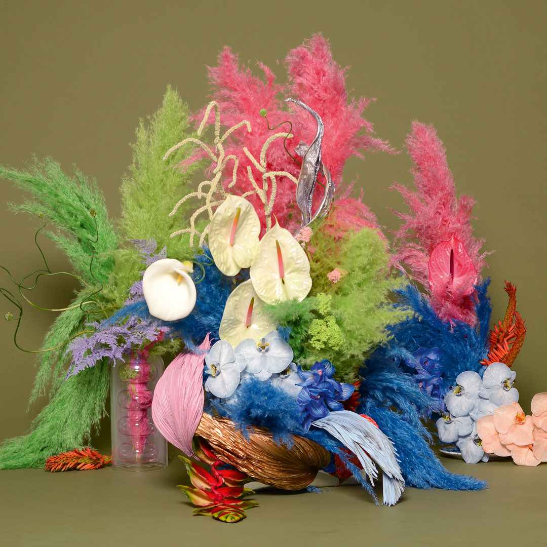 BRRCH (Brittany Asch, New York): palm leaves, calla lily, pampas grass, anthuriums, kalanchoe, lobster claws, amaranth, allium and orchids. Courtesy or BRRCH