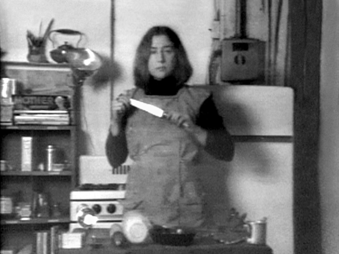 Martha Rosler, Semiotics of the Kitchen, 1975. Video, black and white, sound, 6 min. 33 sec. Courtesy Martha Rosler and Electronic Arts Intermix (EAI), New York