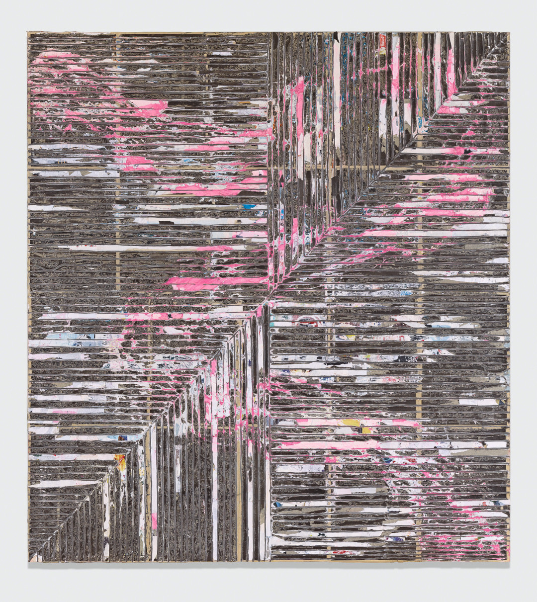 Mark Bradford, Crack Between the Floorboards, 2014. Mixed-media collage on canvas, 132 1/8 x 120 ¼ x 2 1/8 in. (335.5 x 305.5 x 5.5 cm). Picture credit: courtesy the artist and Hauser & Wirth, © Mark Bradford; photo: Joshua White