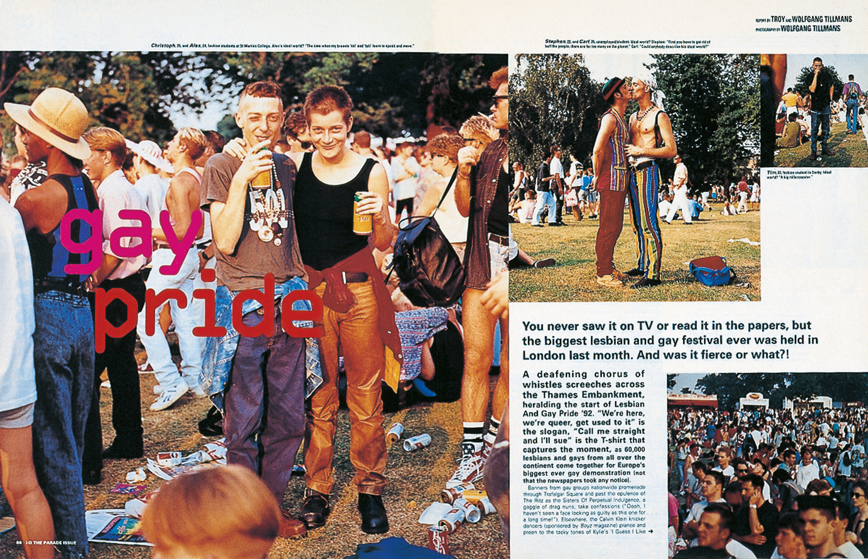 Gay Pride, 1992, magazine spread, i-D, september 1992, by Wolfgang Tillmans