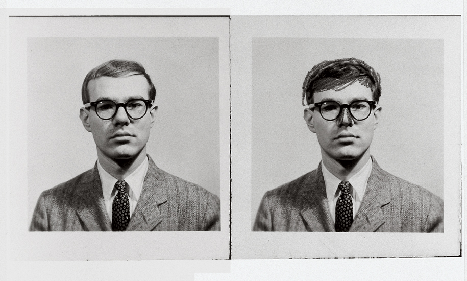 Andy Warhol passport photographs, one of which Warhol altered with a pencil, to make his hair appear fuller and his nose slimmer, 1956. All images appear in Andy Warhol Giant Size