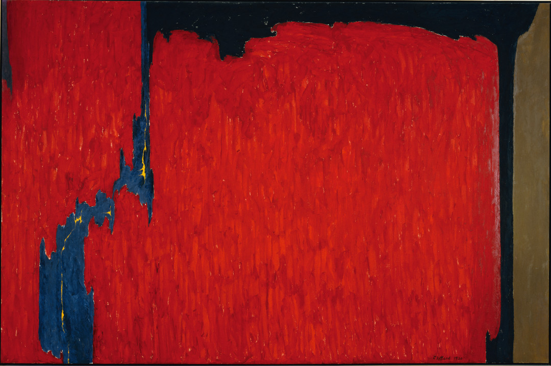 Selected by Mark Bradford: Clyfford Still, Untitled, 1950. Oil on canvas, 112 x 169 1/4 in. (284.5 x 429.9 cm), Gift of Mrs. Clyfford Still, 1986 (1986.441.6) Picture credit: © 2017 City & County of Denver. Courtesy Clyfford Still Museum / Artists Rights Society (ARS), New York / Photo: The Met