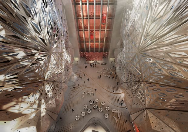 The atrium at the City of Dreams Hotel Tower, Cotai, Macau by Zaha Hadid Architects