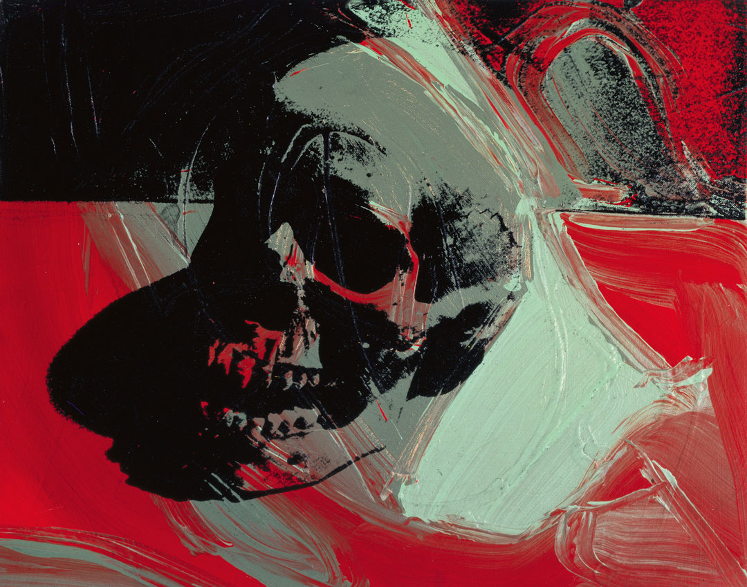 Andy Warhol, Skull, late 1976, acrylic and silkscreen ink on linen, 132 1/4 x 150 1/2 inches, 335.9 x 381.6 cm. Picture credit: The Andy Warhol Museum, Pittsburgh; Founding Collection, Contribution Dia Center for the Arts © The Andy Warhol Museum, Pittsburgh, PA, a museum of Carnegie Institute. All rights reserved.