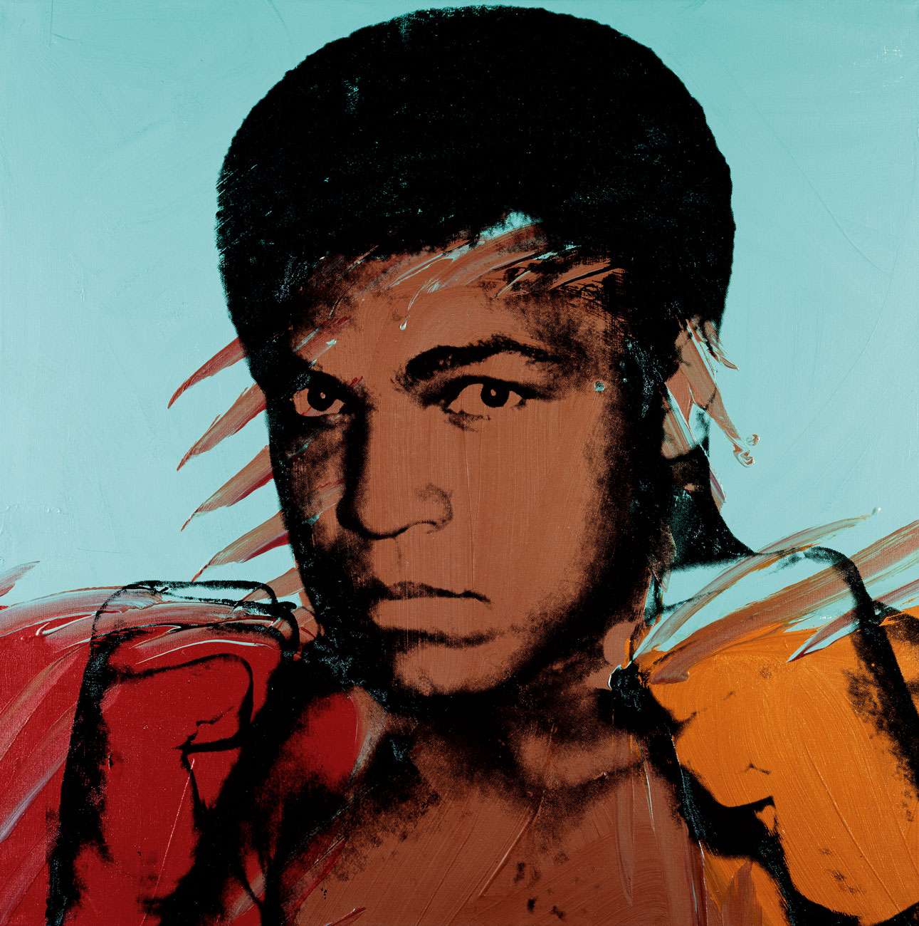 Andy Warhol, Muhammad Ali, fall 1977, acrylic and silkscreen ink on canvas, 40 x 40 inches, 101.6 x 101.6 cm. Collection of Lorenzo and Teresa Fertitta