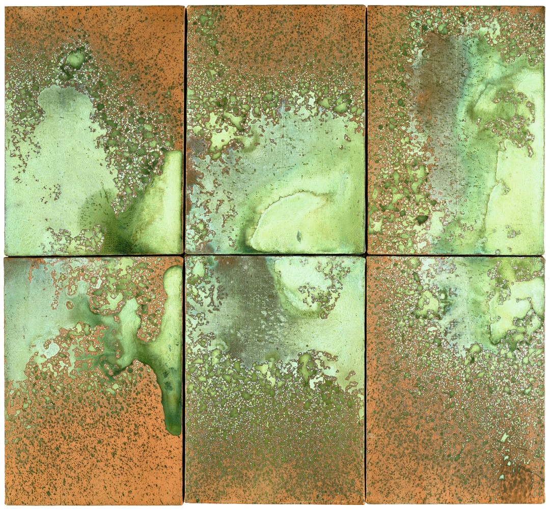 Andy Warhol, Oxidation, 1977–78, urine and metallic paint on canvas, six canvases, 14 x 10 inches, each, 35.6 x 25.4 cm, each. Picture credit: Collection Norman and Norah Stone, San Francisco © The Andy Warhol Foundation for the Visual Arts, Inc., NY, Photo by Phillips/Schwab