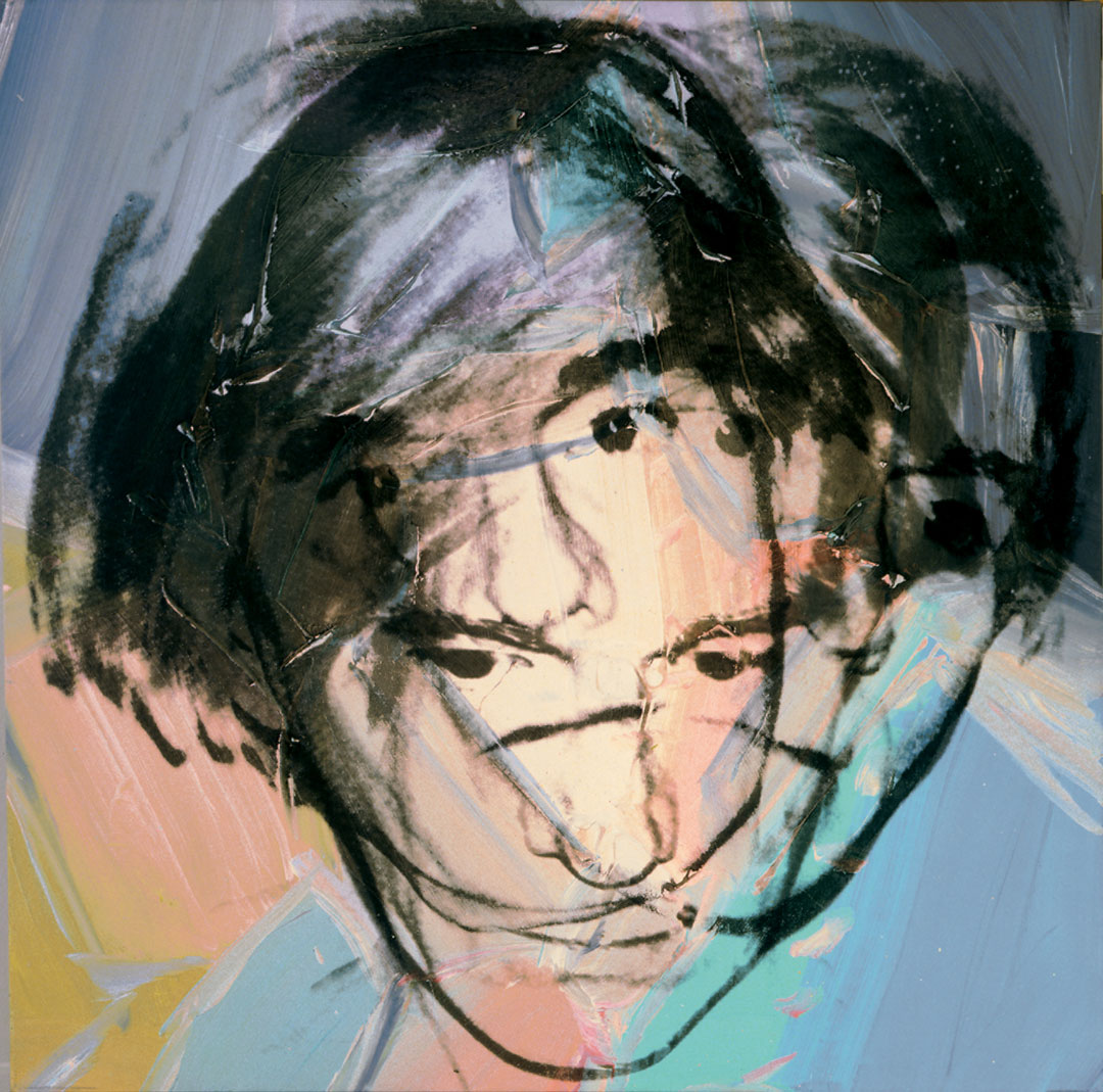 Andy Warhol, Self-Portrait, early 1978, acrylic and silkscreen ink on linen, 40 x 40 inches, 101.6 x 101.6 cm. The Andy Warhol Museum, Pittsburgh; Founding Collection, Contribution The Andy Warhol Foundation for the Visual Arts, Inc. © The Andy Warhol Foundation for the Visual Arts, Inc., NY Photo by Phillips/Schwab