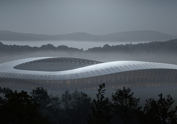Forest Green Rovers' Eco Park Stadium by Zaha Hadid Architects. Render by VA