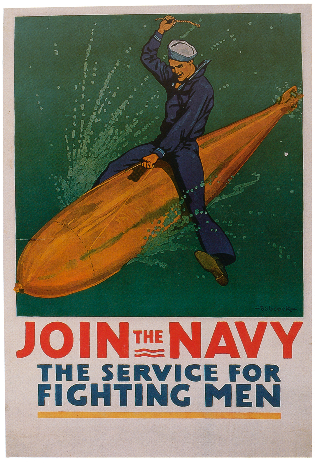Richard Fayerweath Babcock, Join the Navy, 1917, lithograph on paper, 106 × 72 cm.