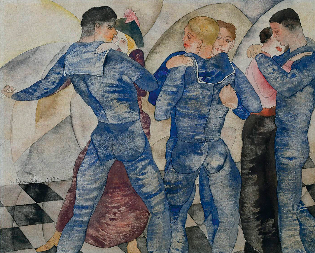 Charles Demuth, Dancing Sailors, 1917, watercolour and pencil on paper, 20.5 × 25.5 cm, Collection, Cleveland Museum of Art.