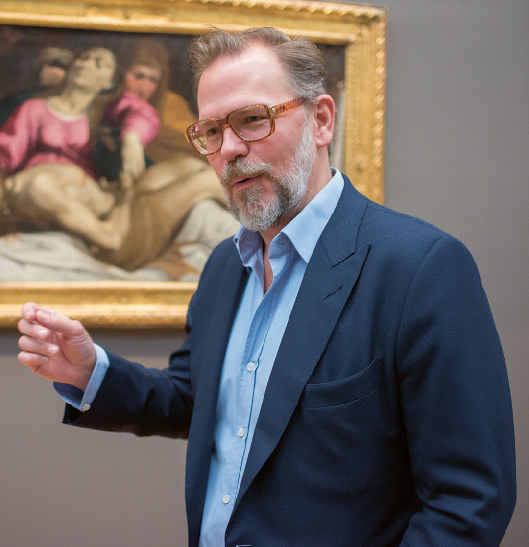John Currin beside Ludovico Carracci's The Lamentation at the Metropolitan Museum, New York. Photo by Jackie Neale/Kathryn Hurni © The Met