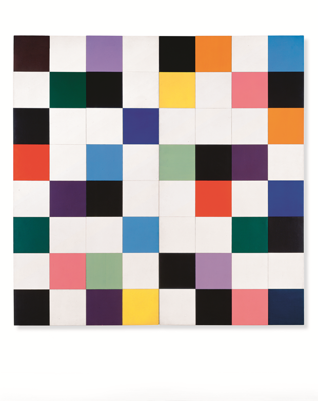 Colors for a Large Wall, 1951, oil on canvas, 64 joined panels, 94 1/2 x 94 1/2 in, 240 x 240 cm. From Ellsworth Kelly