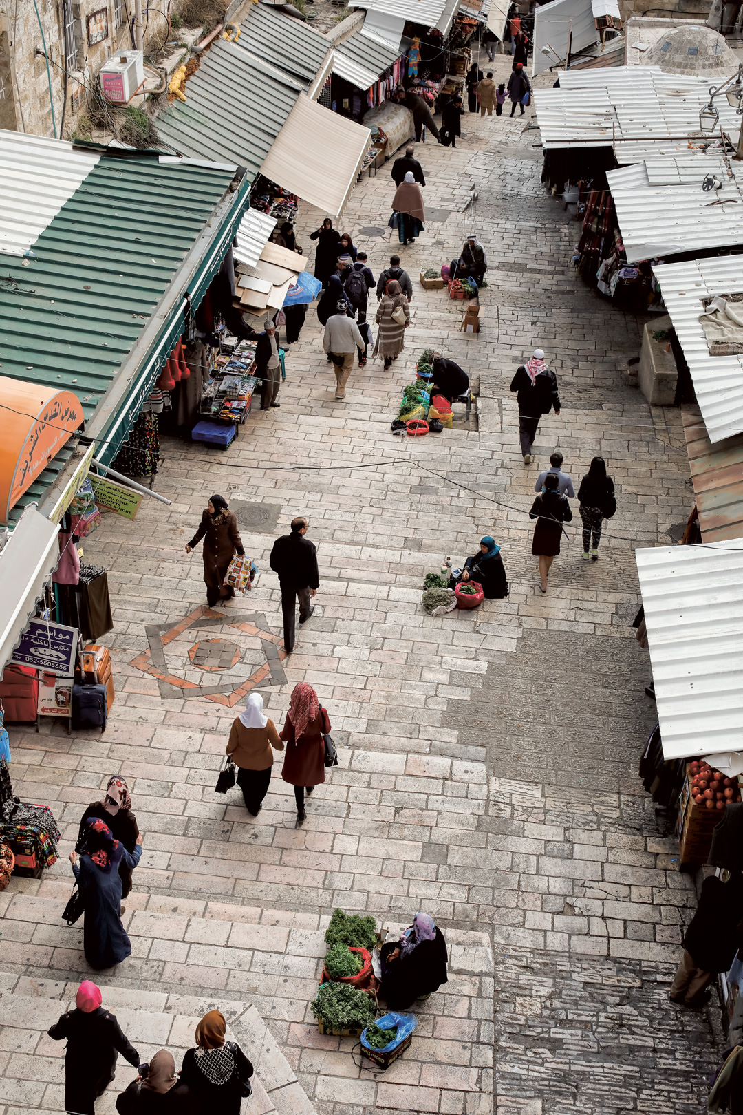 Stairs leading down from Damascus Gate into the Old City of Jeruslam. Photo by Dan Perez from The Palestinian Table