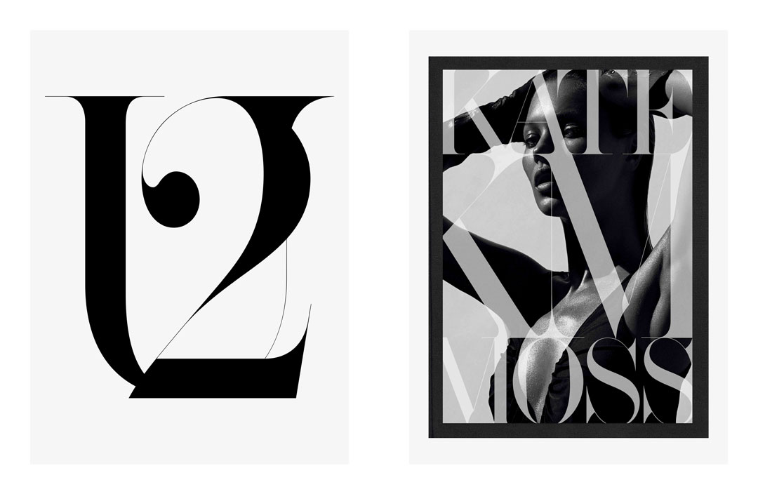 Interview, typography, 2011 (left), Kate: The Kate Moss Book, book design, 2012 (right). From our new book, Fabien Baron: Works 1983-2019