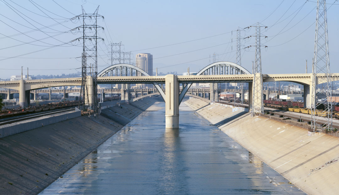 Los Angeles River, Los Angeles, CA, USA, U.S. Army Corps; completed 1913, abandoned 1938. Image courtesy of the Library of Congress