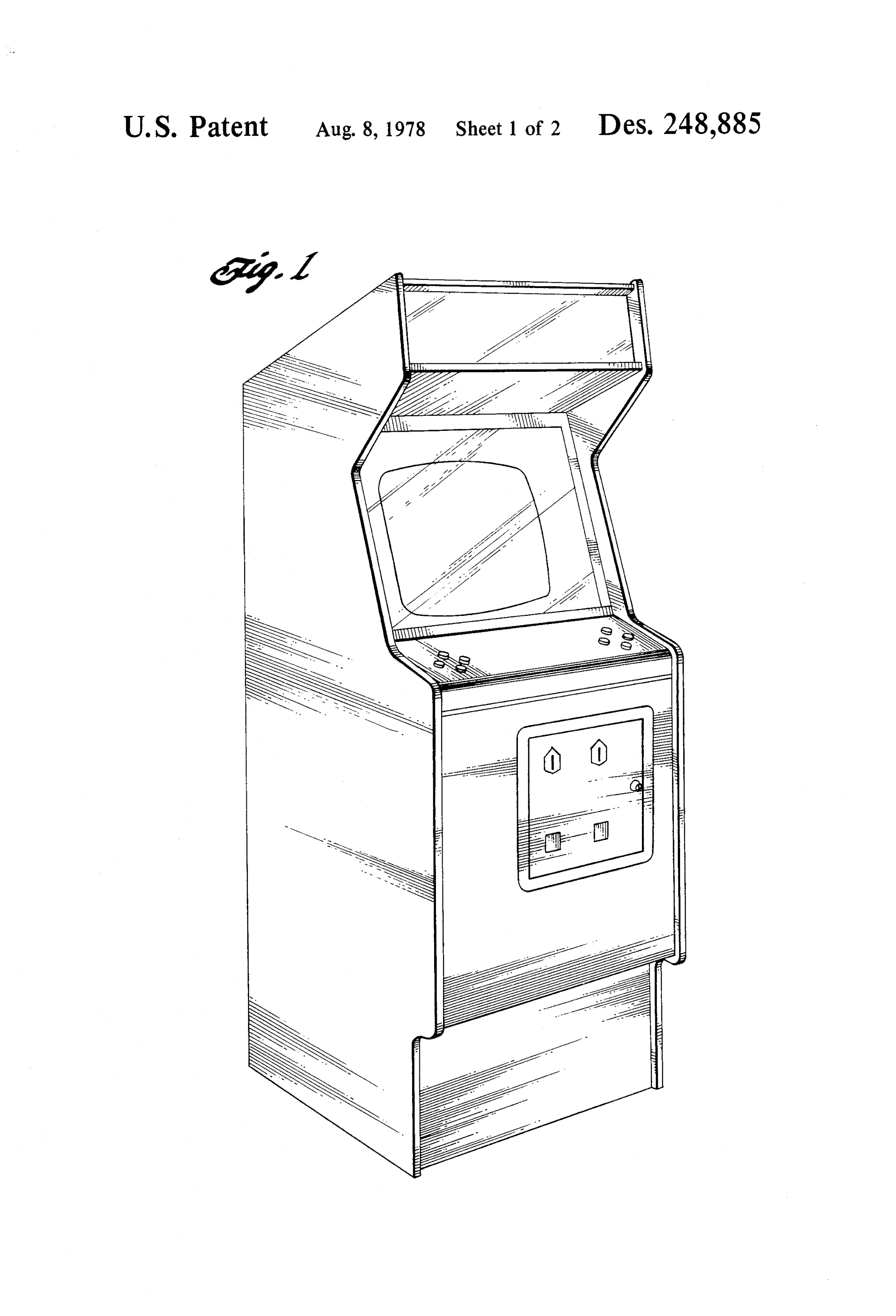 Video Game Cabinet, Lonnie C. Pogue, for Gremlin Industries, 1976/1978. Patent Number: USD 248,885, U.S. Patent Office