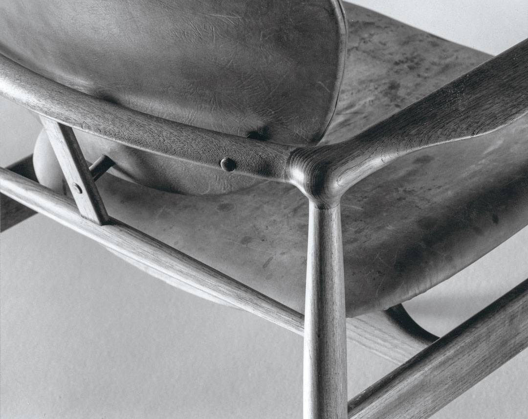 Detail of the FJ48 in a version of the chair currently manufactured by House of Finn Juhl, c.2018