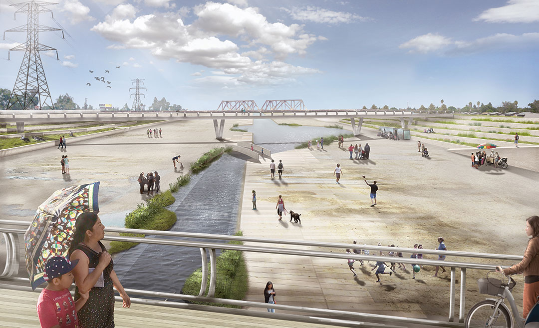 River LA, Los Angeles, CA, USA, Frank Gehry and teams; reimagined 2016; Perkins and Will (architects), design for Lower Los Angeles River Revitalization  Plan (LLARRP). Picture credit: Courtesy of Perkins and Will