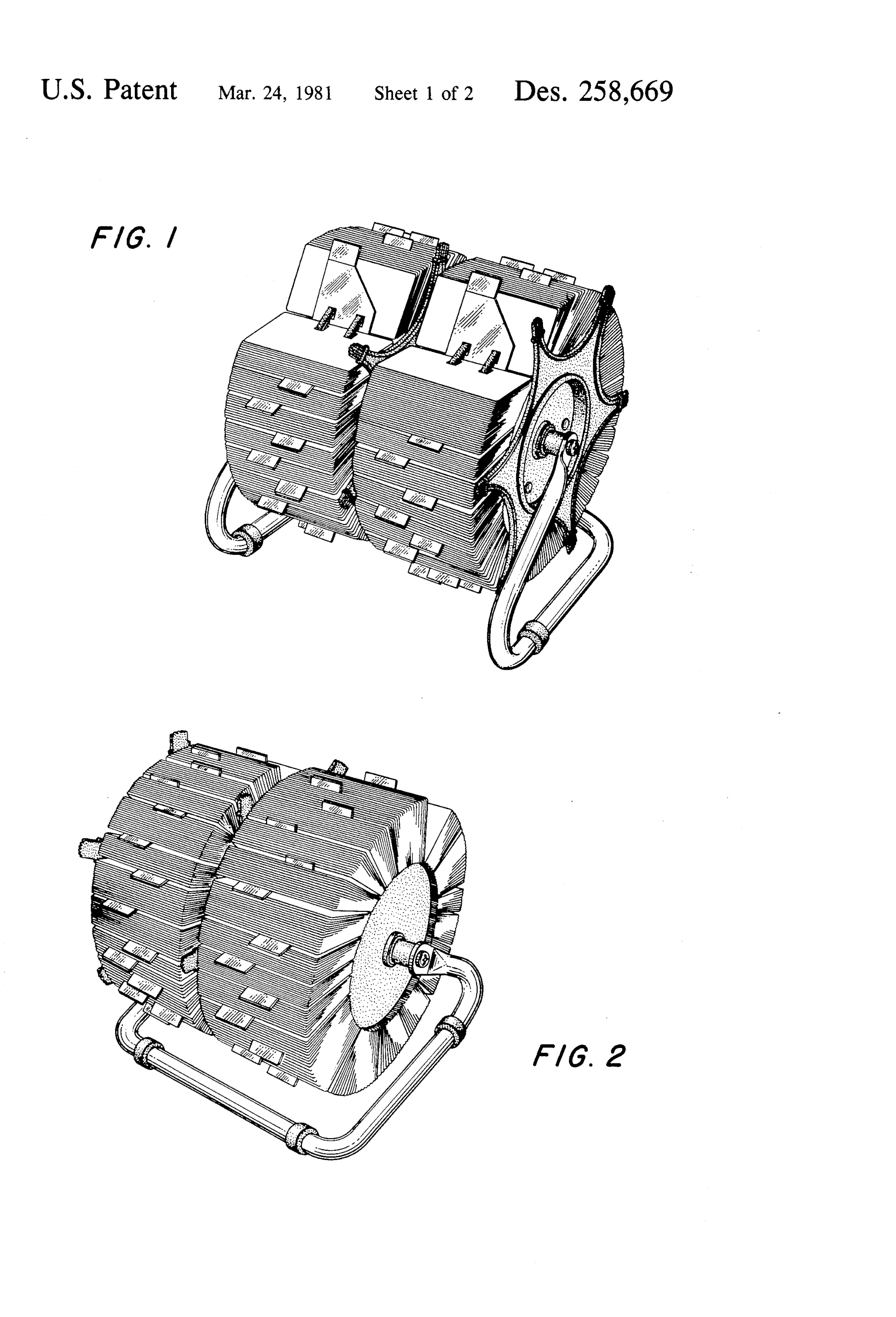 Rotary Card File, Hildaur L. Nielsen, for Rolodex Corporation, 1977/1981. Patent Number: USD 258,669, U.S. Patent Office