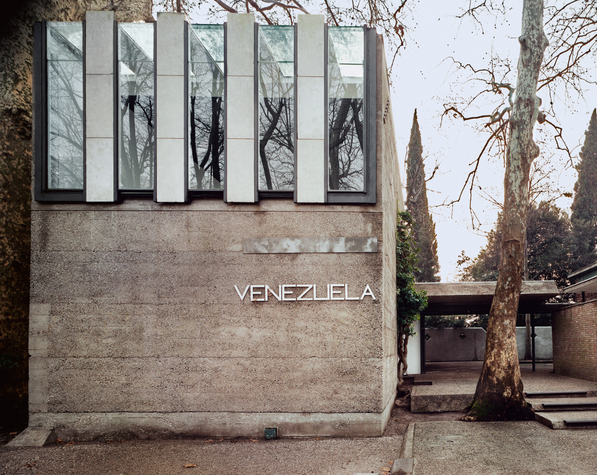 The Venezuelan Pavilion, Biennale Gardens, Venice 1953-56; front elevation from the garden avenue, showing the building's current degraded condition