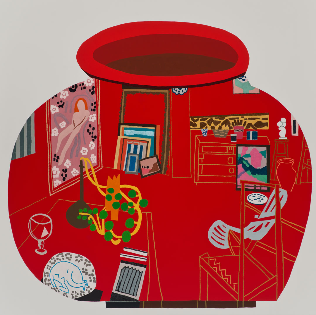 Red Studio Pot (2014) by Jonas Wood, which references The Red Studio (1911) by Henri Matisse