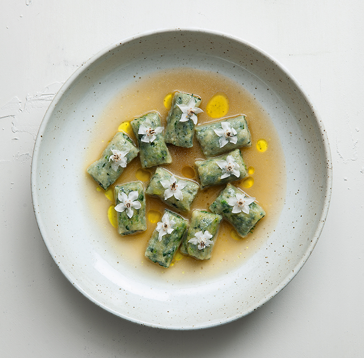 Borage and Ricotta Dumplings in Mushroom Broth. Photography: Rick Poon