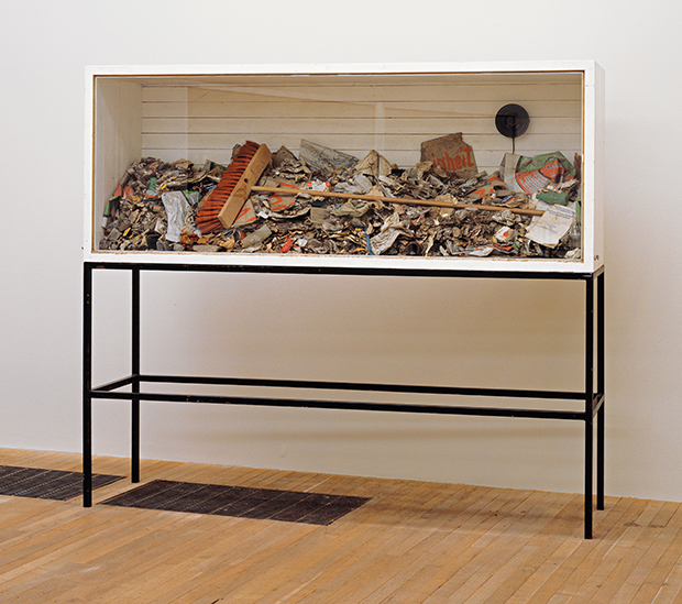 Sweeping up (1972/85) by Joseph Beuys. The vitrine contains rubbish Beuys swept from the street