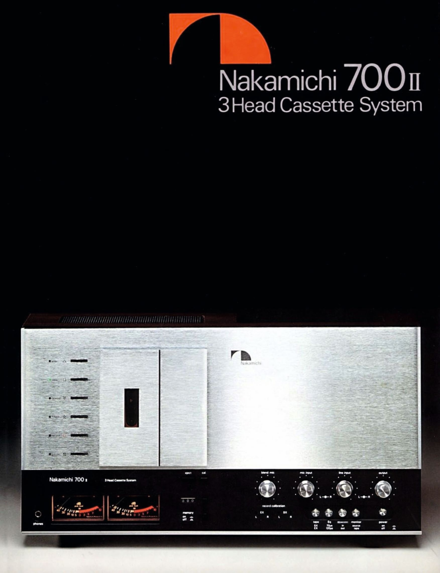 Promotional brochure for the 700ii three-head cassette system, Nakamichi, 1977