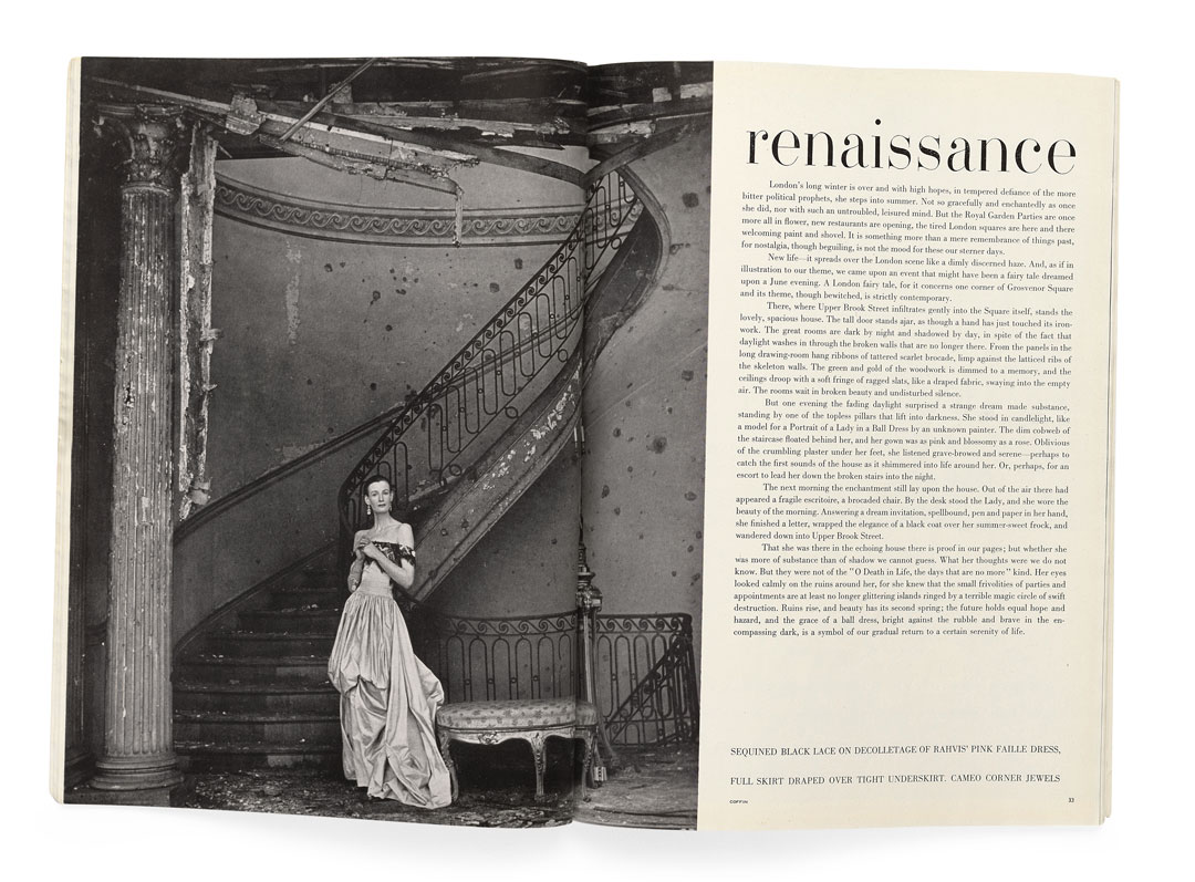 Clifford Coffin's photograph in British Vogue, June 1947. As reproduced in Issues