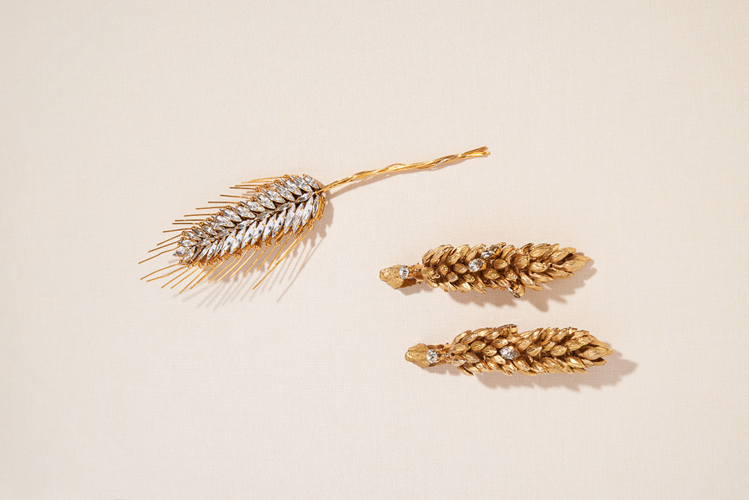 Ear of corn brooch made of diamanté with gilt metal whiskers (made by Goossens), Spring/Summer 1989 haute couture collection; ear of corn earrings studded with diamanté (made by Goossens), Spring/Summer 1982 haute couture collection. Photograph © Lavanchy Matthieu. As reproduced in Yves Saint Laurent Accessories