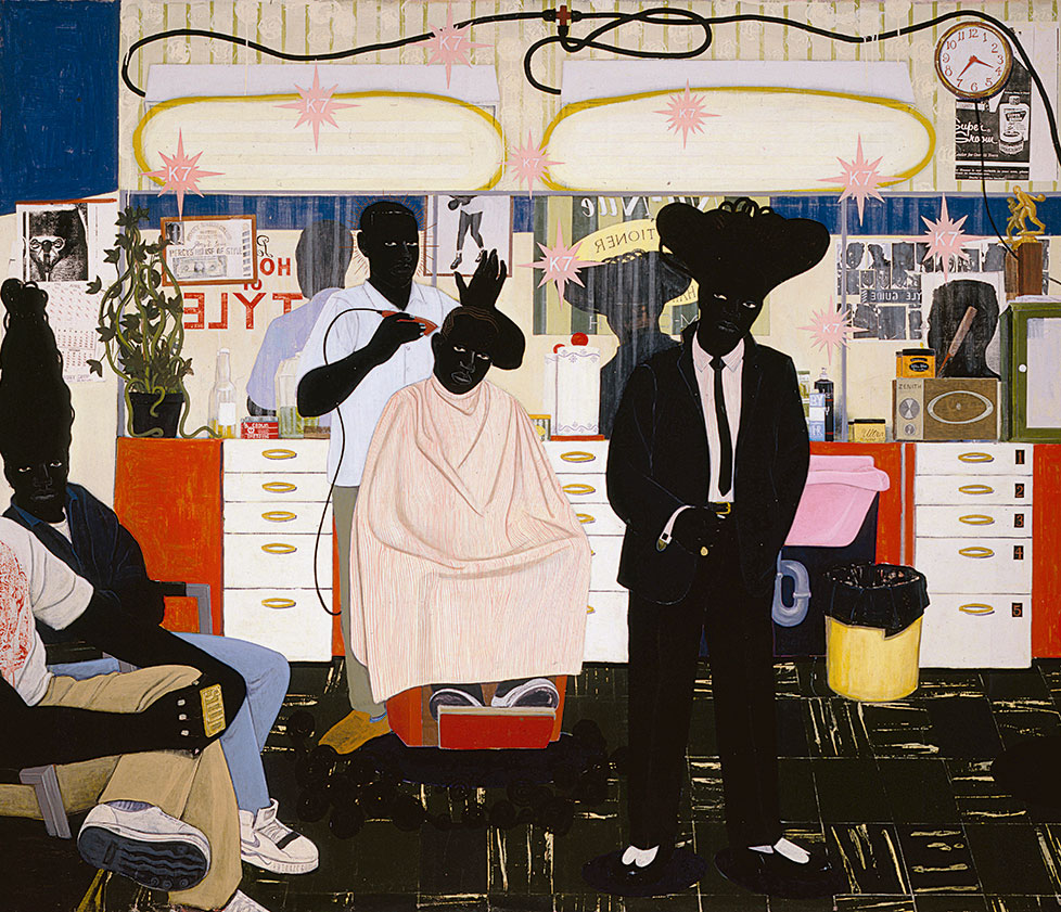 De Style, 1993, acrylic and collage on canvas, 264 x 310 cm. Picture credit: © Kerry James Marshall, courtesy of the artist and Jack Shainman Gallery, New York