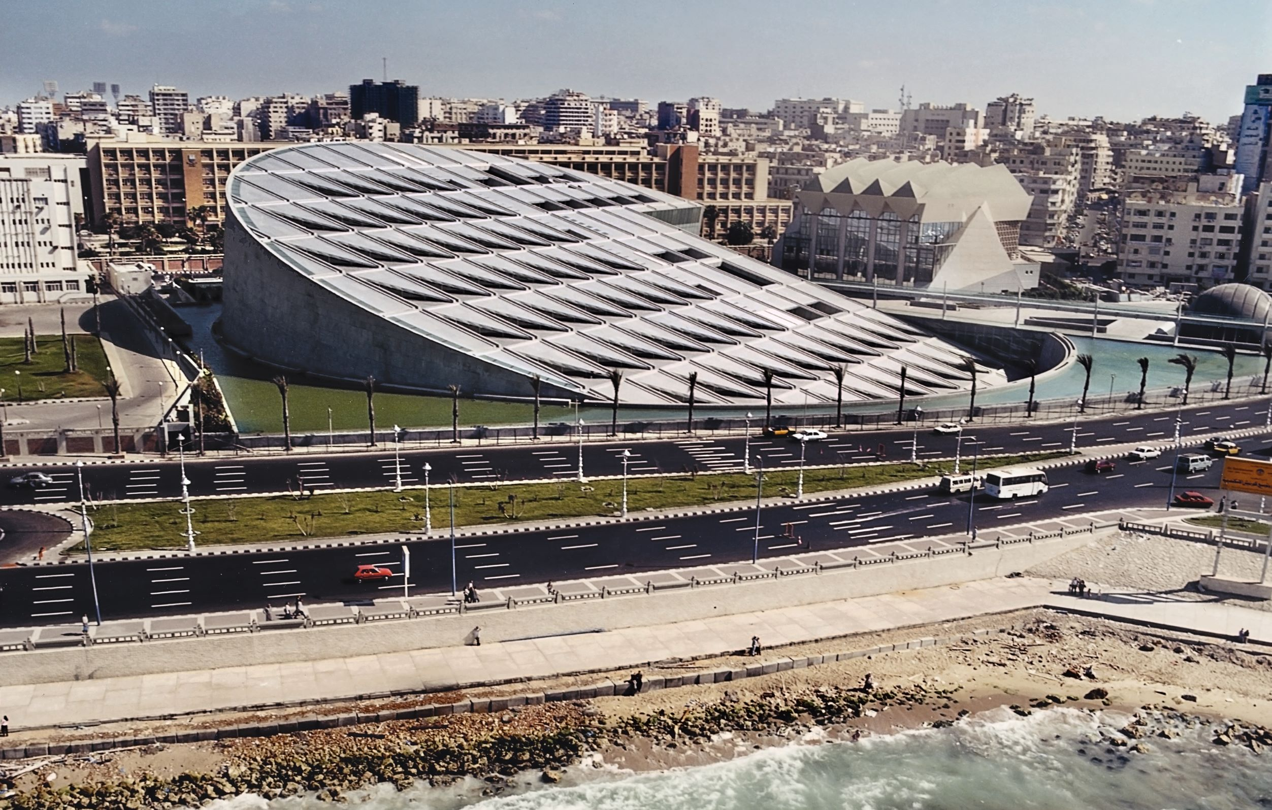 Bibliotheca Alexandrina, 2001, Alexandria, Egypt, by Snøhetta.. Picture credit: © James Williss, from Snøhetta: Collective Intuition.