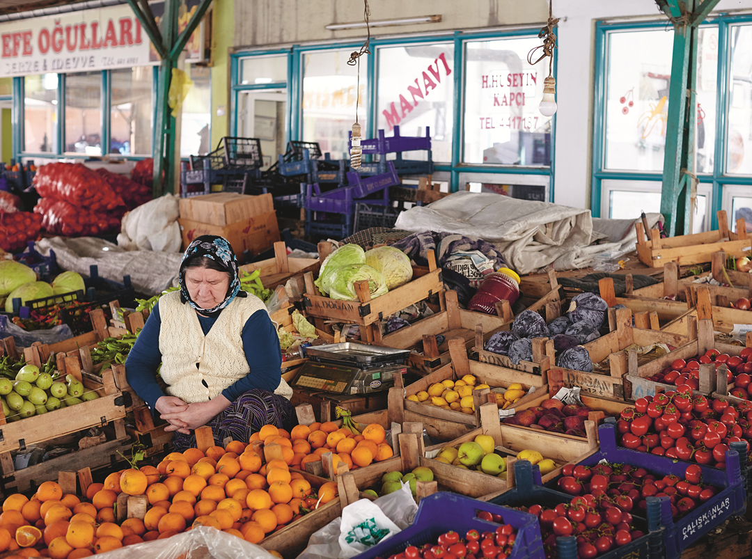 A Turkish vegetable market, from The Turkish Cookbook